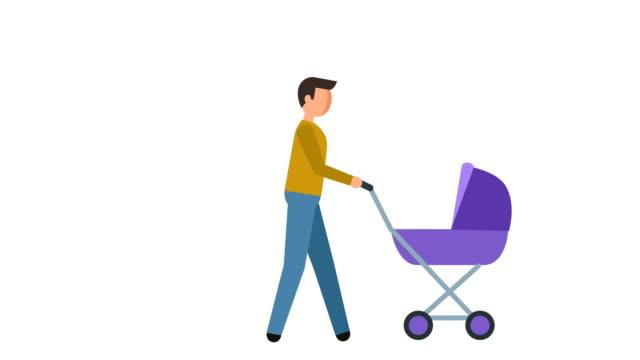 vidéos et rushes de bâton figure pictogramme homme marche avec un landau personnage plat animation - symbole