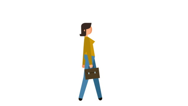 stick figure pictogram woman walk cycle with bag case character flat animation - people icon video stock e b–roll