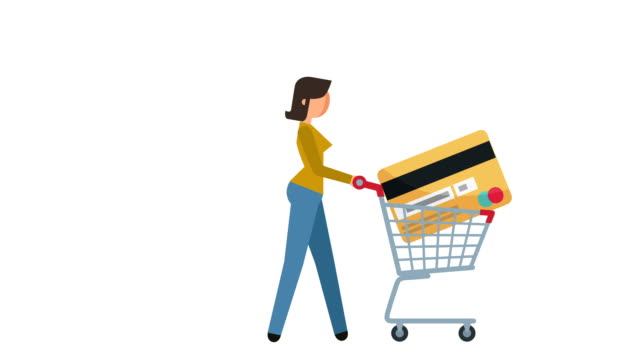stick figure pictogram woman walk cycle with shopping cart and credit card character flat animation - icona supermercato video stock e b–roll