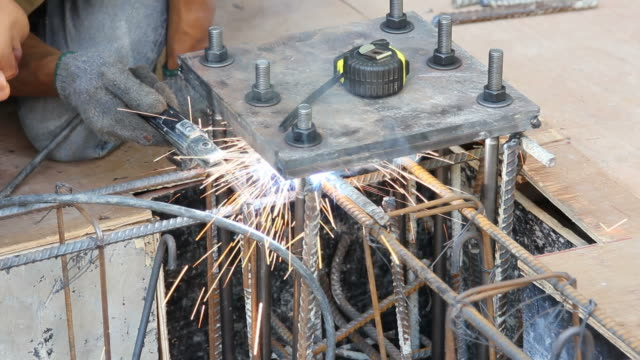 Stick Welding Metal Stick welding, also known as manual metal arc (SMAW) done on a metal part. stick plant part stock videos & royalty-free footage