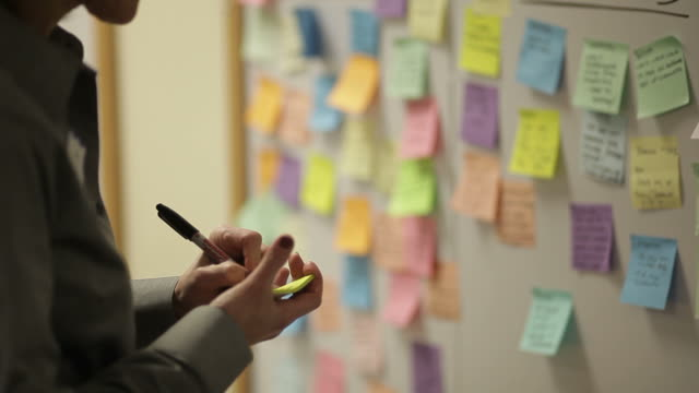 sticky notes and post it notes on bulletin board in office video