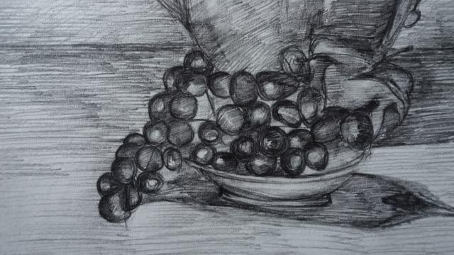 ティーポットとブドウの形をした静物。図面の撮影。 - ぶどう イラスト点の映像素材/bロール