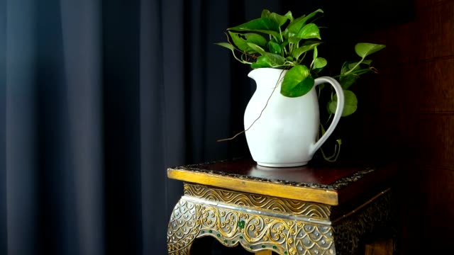 Still life with a white jug and green leaves on a stool with a thai ornament video
