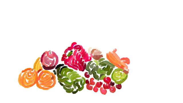 natura morta con frutta fresca e verdura - aglio cipolla isolated video stock e b–roll