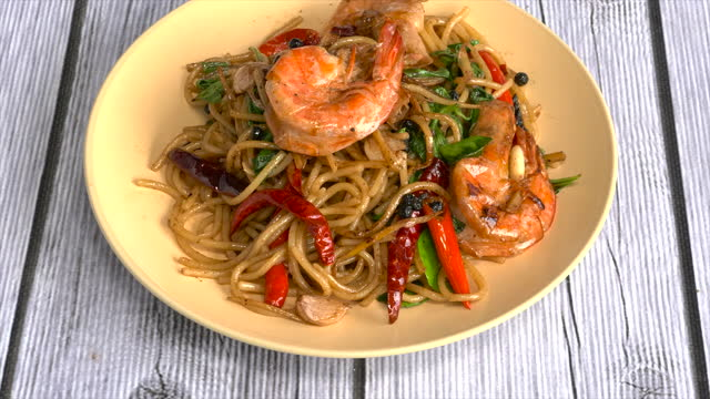 Stir fried holy basil with shrimps and herb - Asian food style