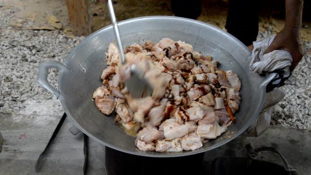 Stir fried pork. video