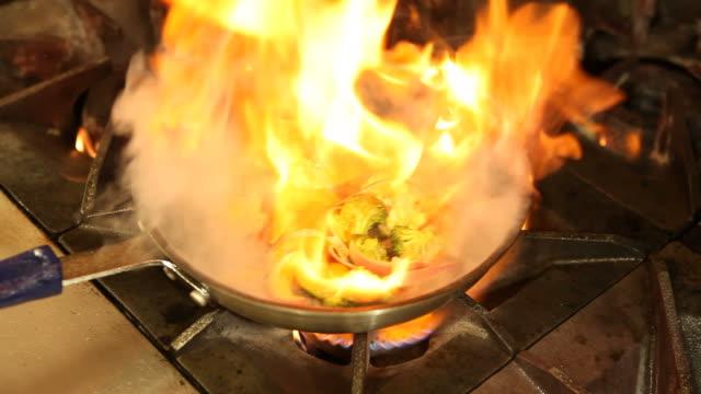 Stir Fry Cooking in Flaming Pan video
