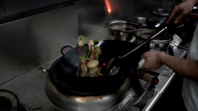 stir frying eggplant with chili pepper in slow motion - melanzane video stock e b–roll