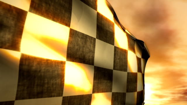 Stock Car Motorcycle Racing Checkered Race Flag Winner Leader Sunset video