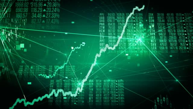 stock exchange bull market (green) - loop - табло котировок стоковые видео и кадры b-roll