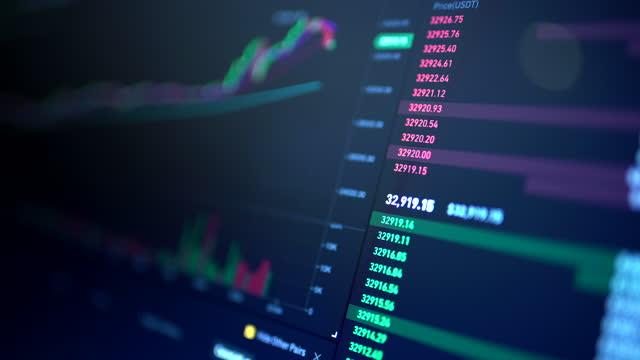 stockvideo's en b-roll-footage met stock exchange interface - bitcoin