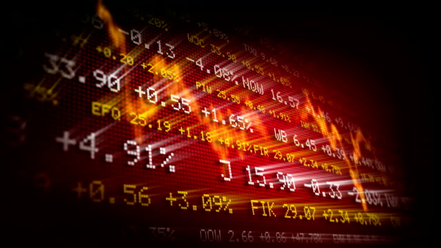 Stock exchange trading board (red) video