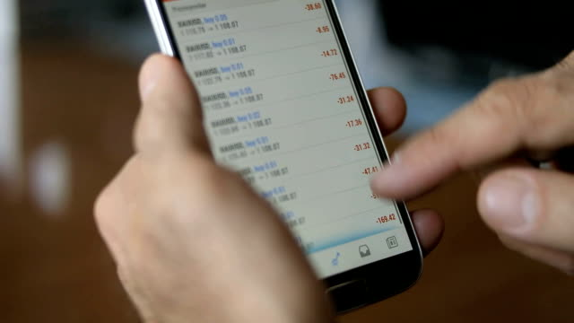 Stock Index on smartphone,Close-up video