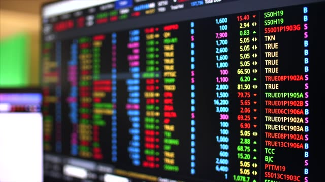 Stock Market Analyzing Activity on Desktop Screen, Close-up shot