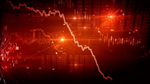 vídeos de stock, filmes e b-roll de mercado de ações cair / mercado (vermelho) - loop de urso - mover para baixo