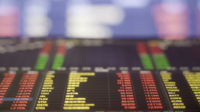 stock market data with digital tablet and Large screen