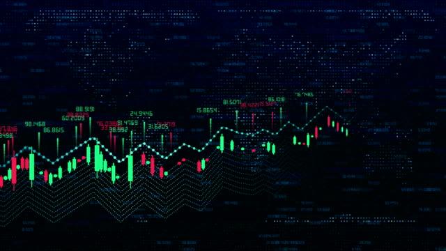 stockvideo's en b-roll-footage met aandelenmarkt indices en virtuele ruimte lus achtergrond - economie