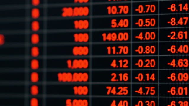 vídeos y material grabado en eventos de stock de tabla de precios de mercado de valores en crisis económica. - recesión
