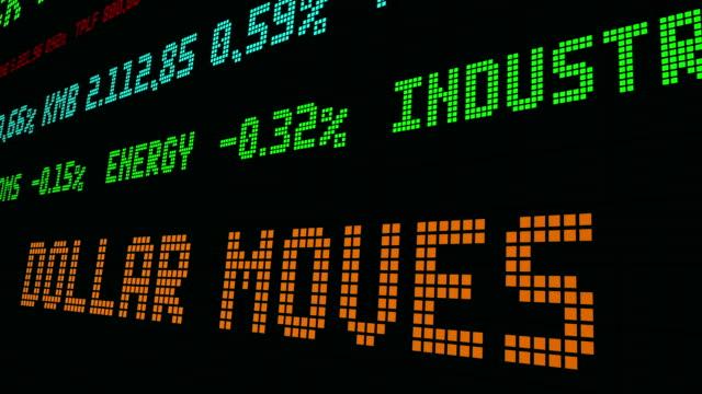 vídeos de stock e filmes b-roll de stock market ticker dollar moves back - nyse crash