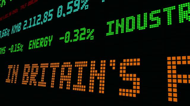 vídeos de stock e filmes b-roll de stock market ticker in britain the pound is sinking - nyse crash
