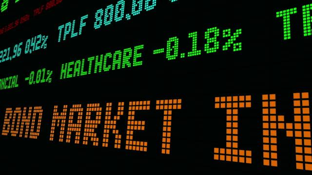 vídeos de stock e filmes b-roll de stock market ticker is the bond market in a bubble - nyse crash
