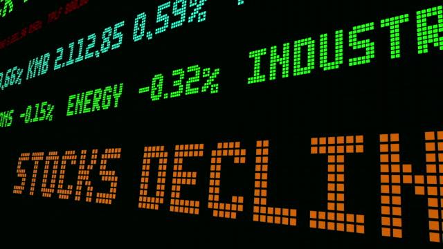 vídeos de stock e filmes b-roll de stock market ticker stocks decline - nyse crash
