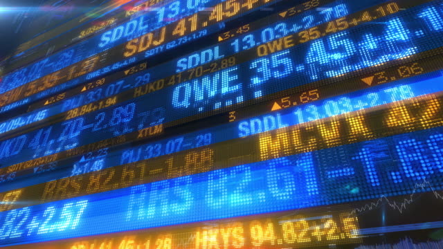 Stock Market Tickers - Digital Data Display Background The high-tech version of digital stock prices on tickers streaming by. All company stock symbols are ficticious.  Seamless looping animation. dow jones industrial average stock videos & royalty-free footage