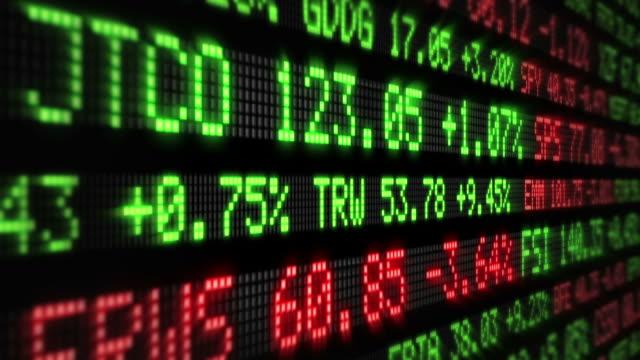 фондовый рынок tickers. петли. зеленая и красная. - табло котировок стоковые видео и кадры b-roll