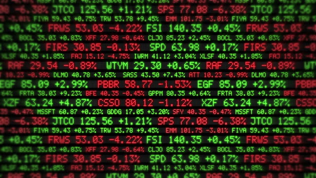 Stock Market Tickers. Loopable. Red and Green. Zoom out. video