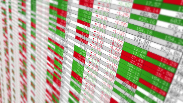 Stock Market Tickers. Loopable. White. Zoom out. 2 videos in 1 file. Digital animation of Stock Market prices passing by. Lateral view. Full HD. exchange rate stock videos & royalty-free footage