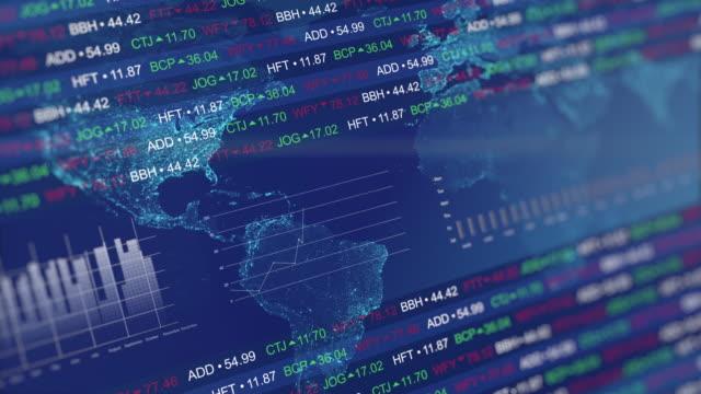 stockvideo's en b-roll-footage met beurs tickers met grafieken en diagrammen en wereld kaart - economie