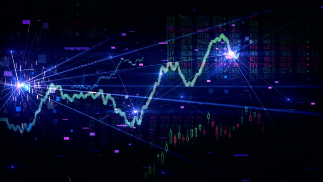 stock market tracking shot (multi colored) - loop - dow jones industrial average video stock e b–roll