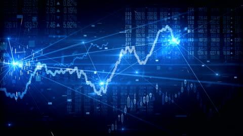 vídeos de stock e filmes b-roll de stock market tracking shot (blue) - loop - comercializar