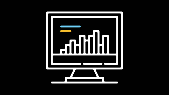Stock Market Trends Line Icon Animation with Alpha