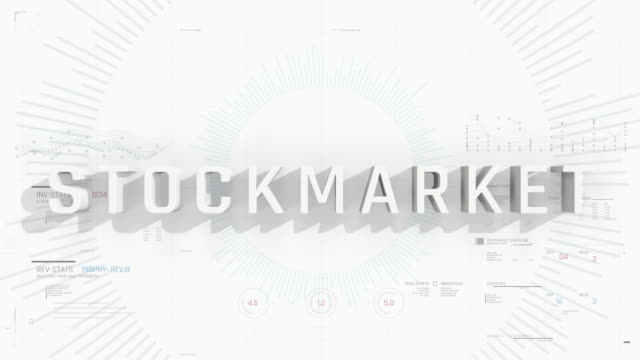 Stock market word on white background, business presentation intro, infographics