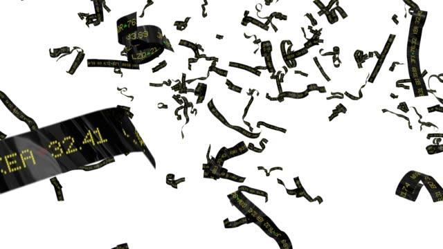 stock ticker tape falling currency market wall st parade celebration 4k - avidità video stock e b–roll