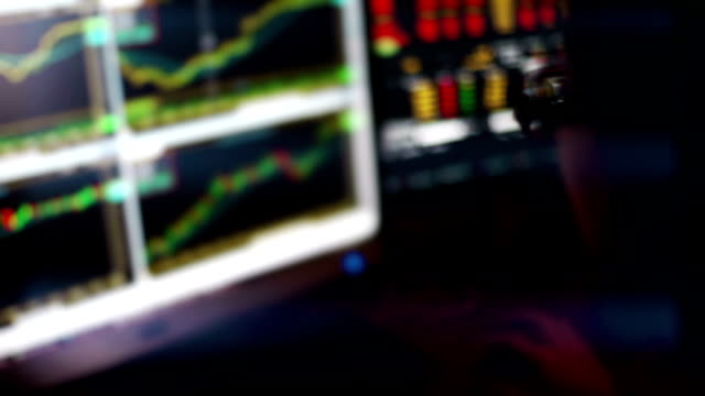 Börsenmakler Überwachung Börse Charts im LED-Display. – Video