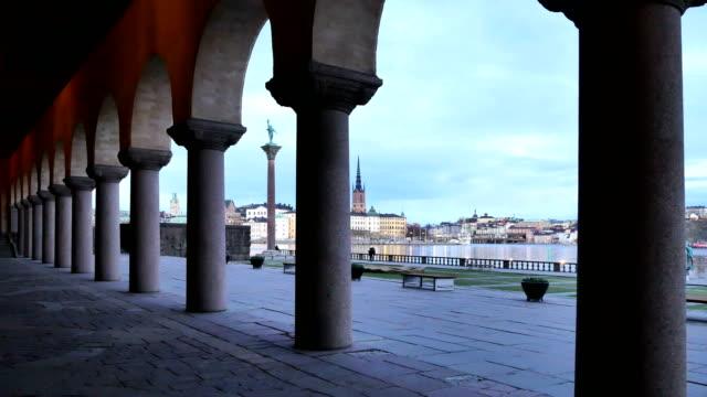 Stockholm city at dusk video