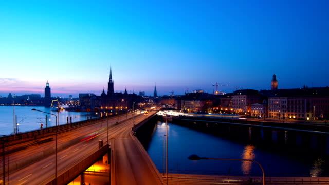 Stockholm city at night video