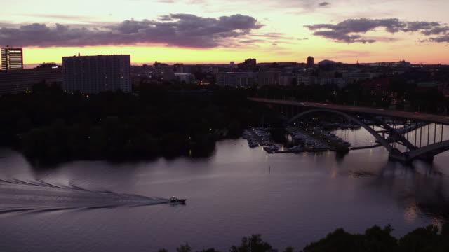 AERIAL: Stockholm city at sunset, the bridge Västerbron video