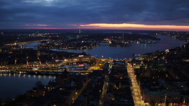 AERIAL: Stockholm city by night video