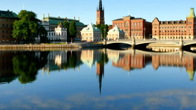 Stockholm city early morning video