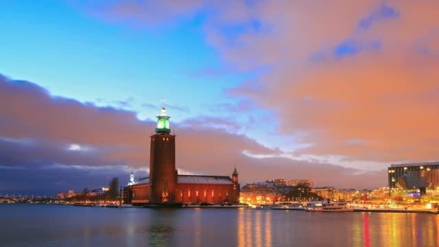 Stockholm Cityhall at dusk video