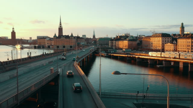 Stockholm cityscape at sunset in 4K. Central city skyline, bridges and traffic video