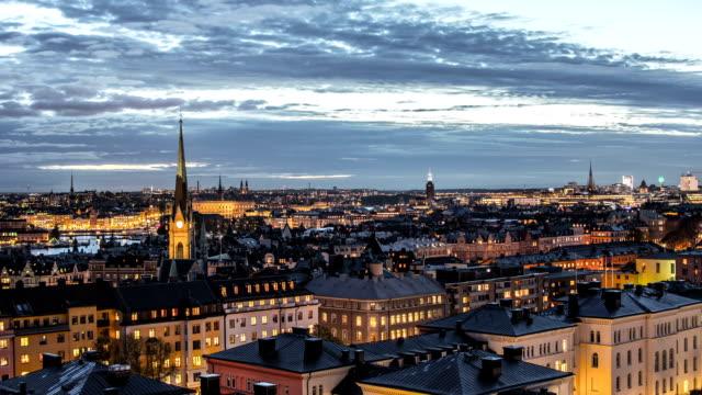 stockholm cityscape skyline time lapse - stockholm bildbanksvideor och videomaterial från bakom kulisserna