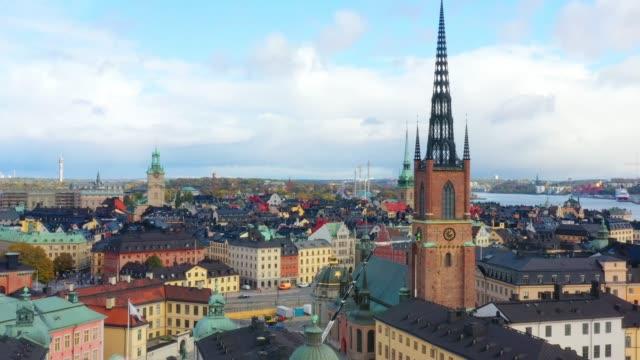 gamla stan sedd från havet, drönarvy - stockholm bildbanksvideor och videomaterial från bakom kulisserna