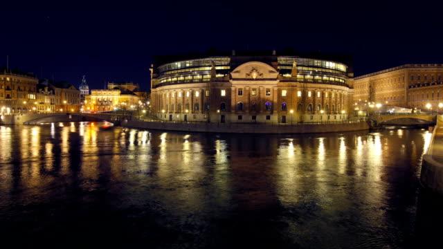 Stockholm, Rigsdag, illuminated House of Parliament video
