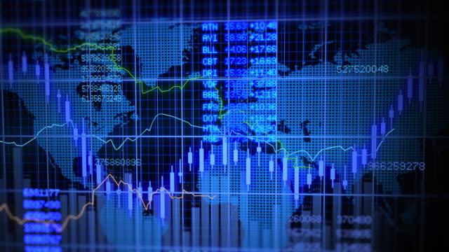 aktienmarkt investmentbanking animation mit welt-map-hintergrund - biegung stock-videos und b-roll-filmmaterial
