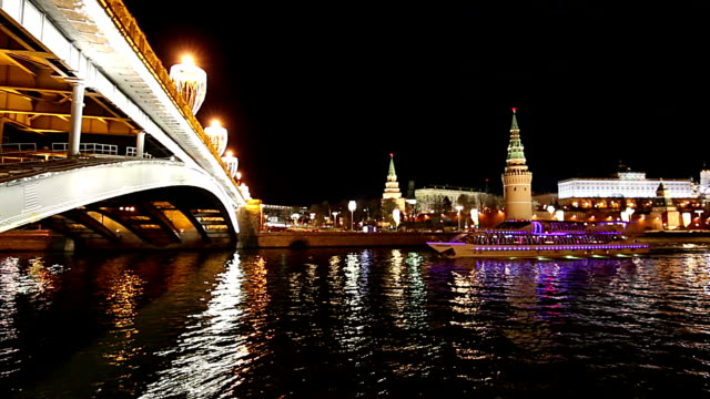 Stone Bridge near Kremlin (at night)-- the most popular view of Moscow, Russia Stone Bridge near Kremlin (at night)-- the most popular view of Moscow, Russia russian ethnicity stock videos & royalty-free footage