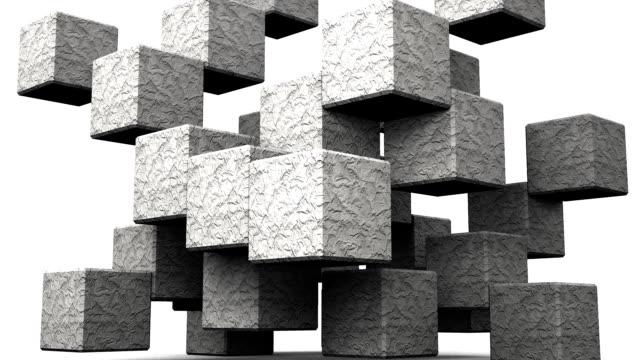 cubo astratto pietra su sfondo bianco - armonia video stock e b–roll